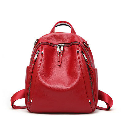 Natural 100% Real Genuine Cow Leather Double Zipper Womens Backpack Cowhide Bags