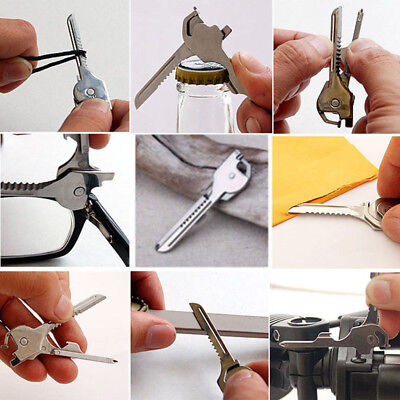 6 in1 Utili-Key Keychain Keyring Multi Tool Stainless Screwdriver Opener Silver