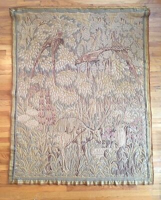 Antique Gustave Jaulmes French Aubusson Tapestry Wall Hanging Woodland Scene