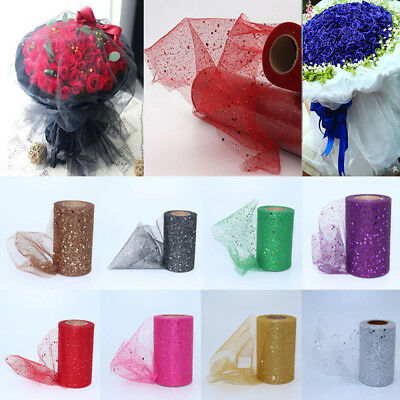 25Yds Sequin Glitter Tutu Tulle Rolls Fabric Bridal Crafts Wedding Decoration