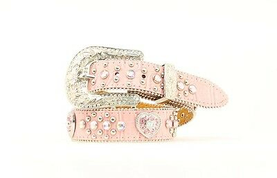 PINK LEATHER ~Crystal HEART Conchos~ Girl's WESTERN BELT Cowkid N44252 17