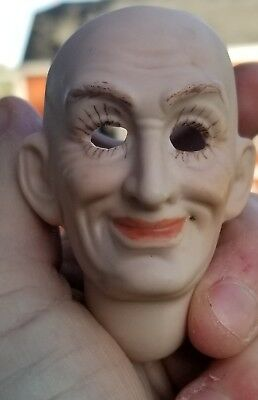 """One Bisque Porcelain Antique Repro WITCH DOLL HEAD 2.5"""" SEELEY 1977 Artist Sign"""
