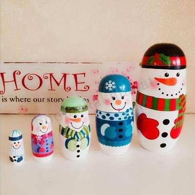 5PCS  Pieces Russian Nesting Dolls Santa Snowman Christmas Xmas Decoration Gifts
