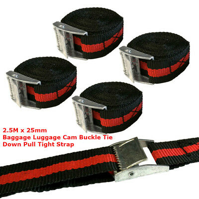 25mm x2.5M Buckle Tie Downs STRAPS ROOF RACK LUGGAGE CARGO Polypropylene Webbing