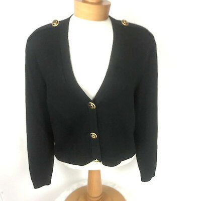 St John by Marie Gray Santana Knit Black Blazer Gold Button Jacket Womens M