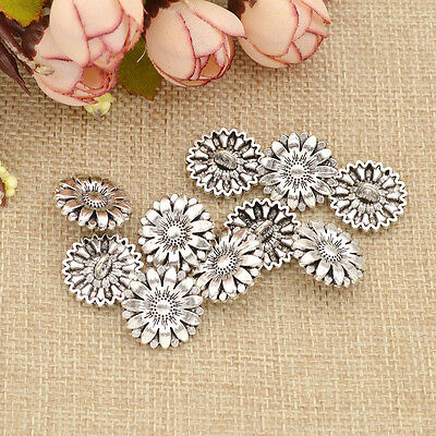 5/10Pc Metal Sunflower Carved Antique Silver Shank Buttons Sewing Craft DIY bs