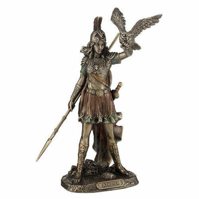 "8"" Athena Greek Goddess of Wisdom & War Sculpture Statue Owl Figure Figure"