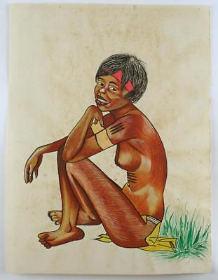 Vintage Australian Painting - ABORIGINAL WOMAN SEATED, Not signed, c1950-60's