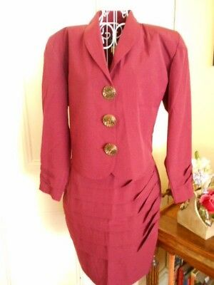 VINTAGE 1980's BURGANDY OUTFIT BY COLIN RAYMOND  (SKIRT & JACKET)