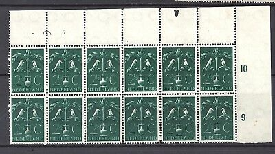 Netherlands stamps 1943-44 Sc248 face 2 and 1/2c block of 12