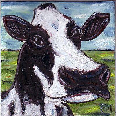 art cow Maggie 8x8 wood panel animal farm oil painting Original signed Crowell