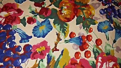 "Fall flower fruit deco cotton screen print tablecloth 54"" x 196"" vtg"