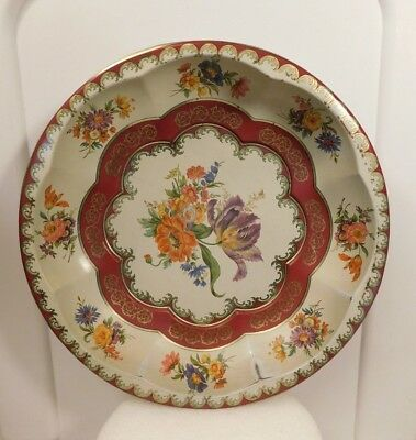 """Vintage. Daher Decorated Ware Floral Bouquet 1971 Tin Round Bowl England 10"""" (A)"""