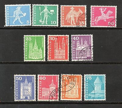 Switzerland #382-387, 388-393 messengers, castles, churches -11 issues