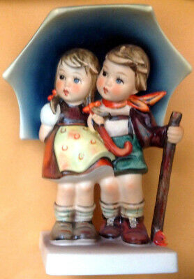 "HUMMEL STORMY WEATHER FIGURINE, Umbrella Boy & Girl, #71 - 6 1/4"" HIGH -TMK 5"