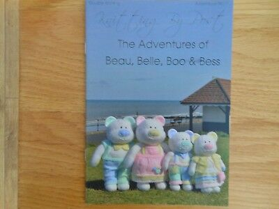 Beau, Belle, Boo & Bess teddy knitting booklet, soft toy teddies knit pattern