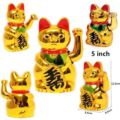 """5"""" Chinese Lucky Waving Golden Cat Figure with Moving Arm Wealth Decoration"""