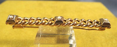 Antique Art Deco French Rolled Gold Bar Brooch Necktie Hair Pin ~3 Inlaid Pearls