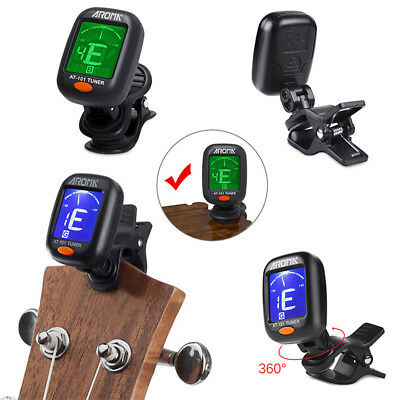 Lcd Clip On Chromatic Acoustic Electric Guitar Bass Ukulele Banjo Tuner Uk-Rain