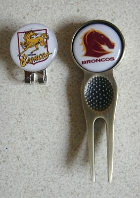 2 Only Brisbane Broncos Golf Ball Markers - A Quality Divot Tool Plus A Hat Clip