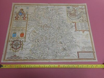 100% Original Large Shropshire Map By John Speed/dicey C1770 Hand Coloured
