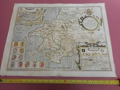 100% Original Large Pembrokeshire Map By John Speed C1676 Hand Coloured