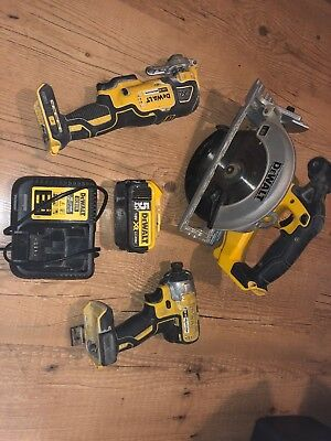 Dewalt 3 Pice Kit Circular Saw Multi Tool Impact Driver Complate 5.0Ah Job Lot