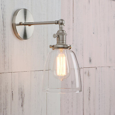 ON SALE!!Retro Industrial  Cloche Clear Glass LampShade Edison Wall Light Sconce