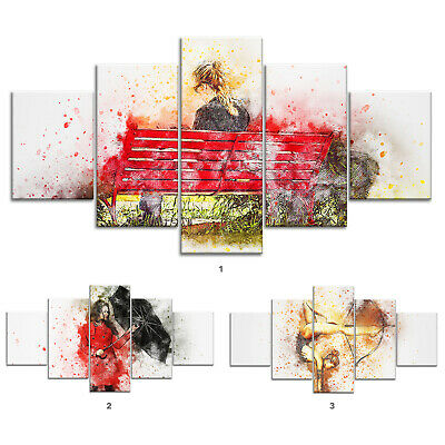 Woman Bench Modern Abstract Canvas Print Painting Framed Home Decor Wall Art 5P