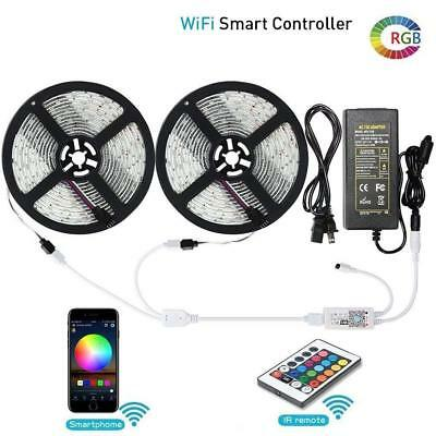 32.8ft 5050 RGB LED Strip Light +Wifi Smart Phone(Android/IOS) Controller +Power