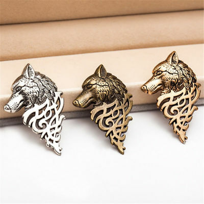 1~2Pcs Vintage Wolf Head Tie Pin Brooch with Celtic Design Viking Tribal Badge