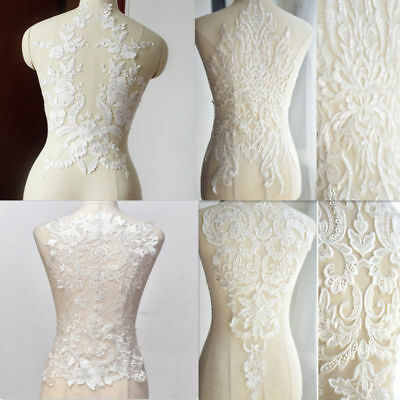Large Flower Lace Applique Embroidered Sewing Bridal Wedding Dress Patch DIY New
