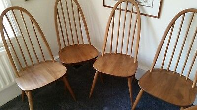 Vintage Ercol Quaker Dining Chairs x4 Blonde 365 Mid Century Hoopback Untouched