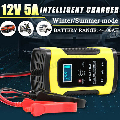 AU 12V Auto Car Battery Charger LCD Intelligent 100-240V 100AH Pulse Repair Type