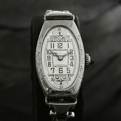 14K SOLID WHITE GOLD 20s Vintage WINTON SWISS ART DECO COCKTAIL WATCH OVAL