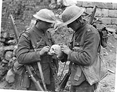 WW 1- Original Black & White Photo - Royal Engineer Soldiers with Human Skull