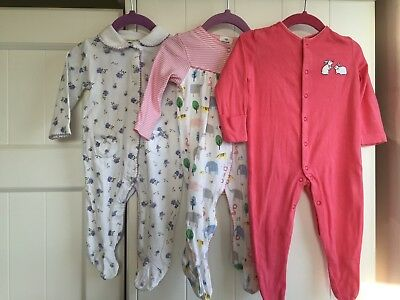 John Lewis Baby Girls 3-6 Months X3 Sleepsuits Baby grows