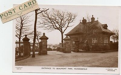 Entrance To Beaumont Park Huddersfield Real Photograph Postcard