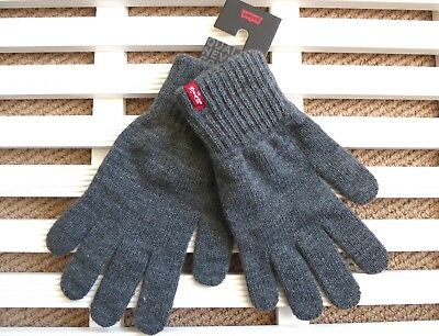 MEDIUM or LARGE LEVI'S Dark Grey GLOVES Mens New Tags MADE IN ITALY