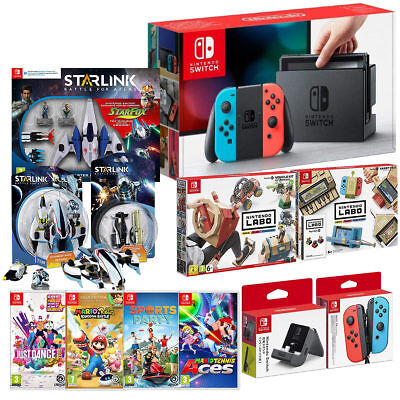 Nintendo Mega Bundle With Switch Neon Redblue 5 Games Including Variety Of Set