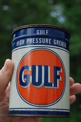 ANTIQUE GULF HIGH PRESSURE GREASE GAS STATION 1lb  METAL TIN CAN OIL ADVERTISING