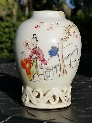 Antique chinese  Famille Rose Vase hand painted openwork base