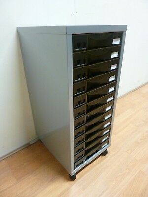 New Pierre Henry 12 Drawer A4 Filing Cabinet Mini Chest Black & Grey *Staples*