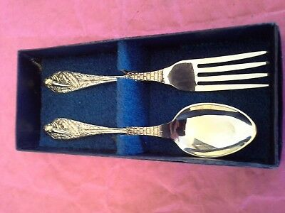 Vintage Siver Plate Stork Embossed Spoon and Fork Baby Christening Set Boxed