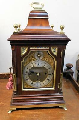 good mahogany and brass triple fusee bracket clock on 8 bells & 5 gongs,small