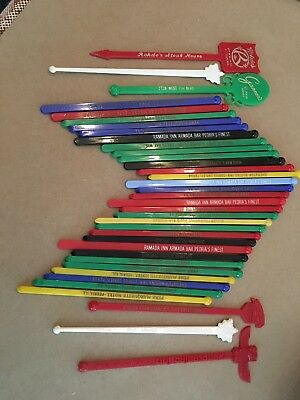 LOT OF 36 VINTAGE PLASTIC SWIZZLE STICKS Heavy Midwest