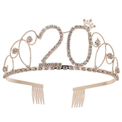 CO_ Bridal Shining Hollow Rhinestones Number 20 Crown Tiara Headband Comb Pin No