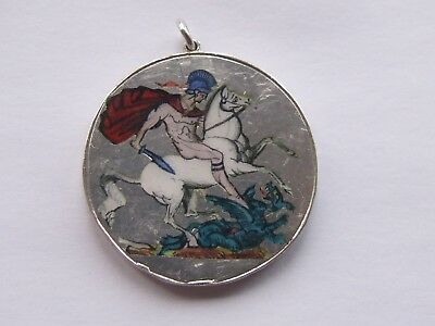 Interesting Enamelled Silver Fob Curio From George Iii Crown / George & Dragon