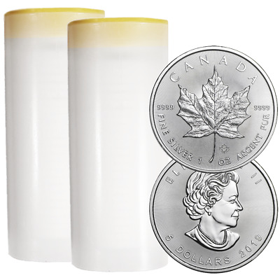 Lot of 50 - 2019 $5 Silver Canadian Maple Leaf 1 oz Brilliant Uncirculated 2 Ful