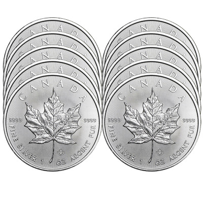 Lot of 10 - 2019 $5 Silver Canadian Maple Leaf 1 oz Brilliant Uncirculated